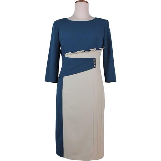 eb603786ac Elegancka sukienka duże rozmiary 42-52 PSUK14012 multibrend granatowy midi