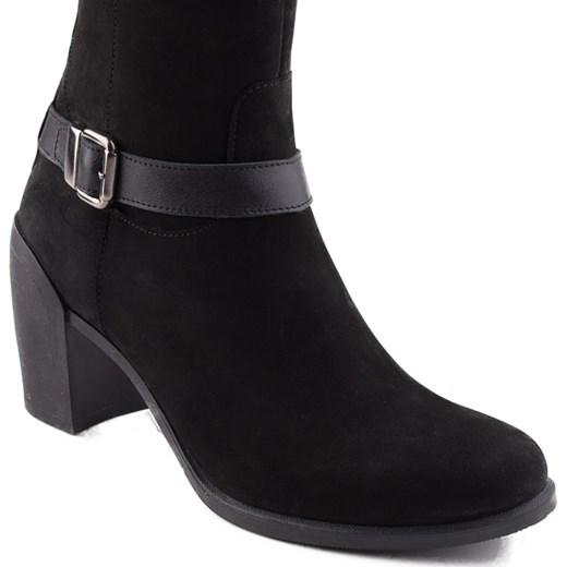 7442f71fcf70d 0057K-061 Marco Shoes kozaki czarne z nubuku milandi-pl czarny damskie na  obcasie w Domodi