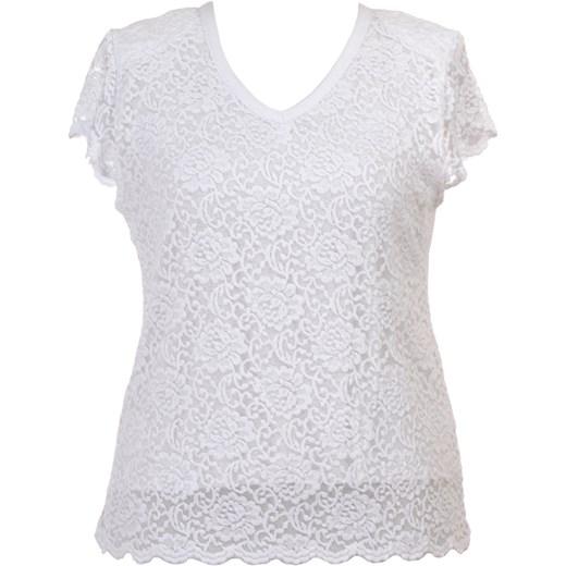 Duze Koronkowa Krótki Biała Modne Wizytowa Bluzka Rozmiary Rękaw nW8FnATYw1