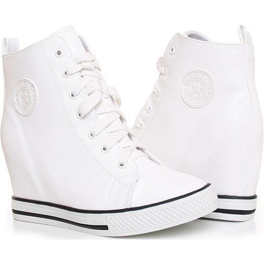 44a2c2092 Trampki na koturnie sneakersy /G6-2 Z259 Sx321/ Białe pantofelek24 szary  młodzieżowy w Domodi