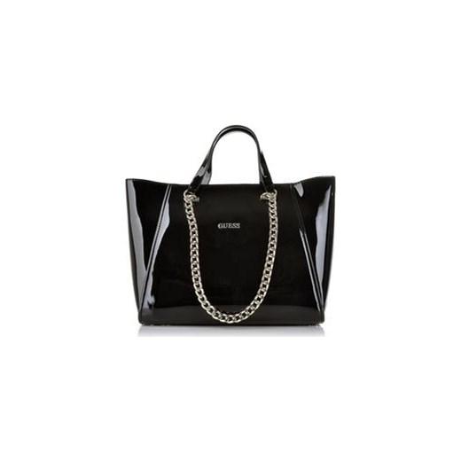 9c1175f46ad55 Guess Nikki Chain średnia lakierowana torebka royal-point czarny glamour
