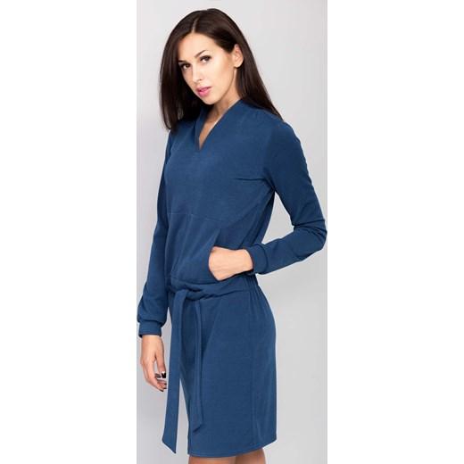 c2c93ef5e7 ... Sukienka z miękkiej dzianiny jersey niebieski the-cover granatowy  wiosna ...