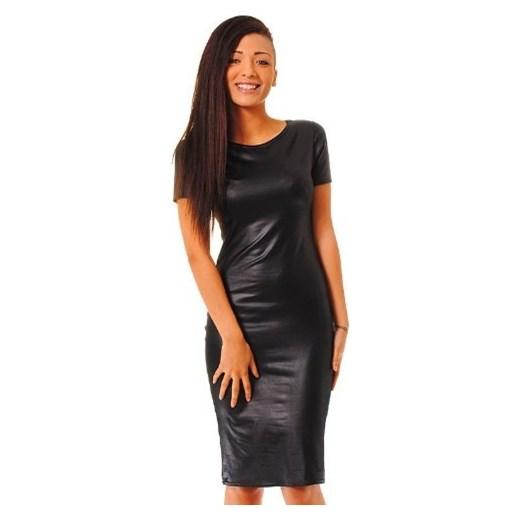 b1a5168383 Sukienka ołówkowa skórzana lateksowa sklep-divine-wear czarny midi w ...