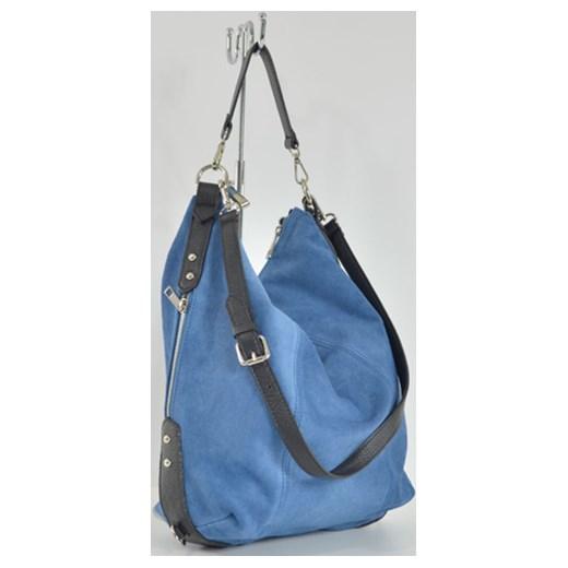 500b81da08b2d Skórzana zamszowa torebka worek cervandone-pl niebieski casual w Domodi