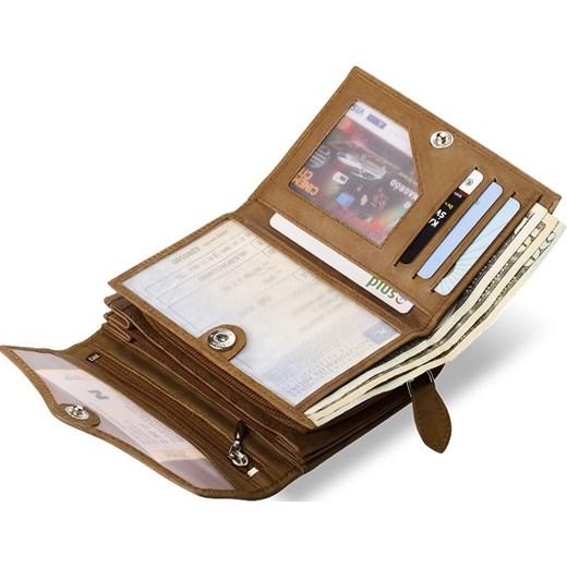 b0a5a650f1f9b ... SKÓRZANA PORTMONETKA PORTFEL DAMSKI MONEY MAKER - CZARNY world-style-pl  brazowy z kieszeniami ...