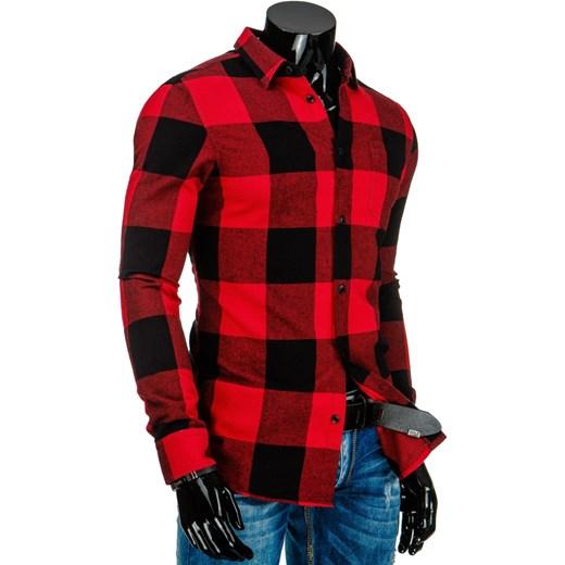 Czarno czerwona koszula męska w kratę (dx0826) dstreet  SylDf