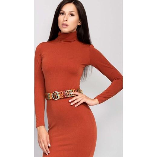 ad8c41c50c ... Sukienki sportowe  Elegancka sukienka z kołnierzem rudy the-cover  pomaranczowy rękawy ...