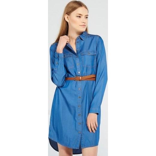 d97e6c810d Jeansowa sukienka z paskiem reserved niebieski mini w Domodi
