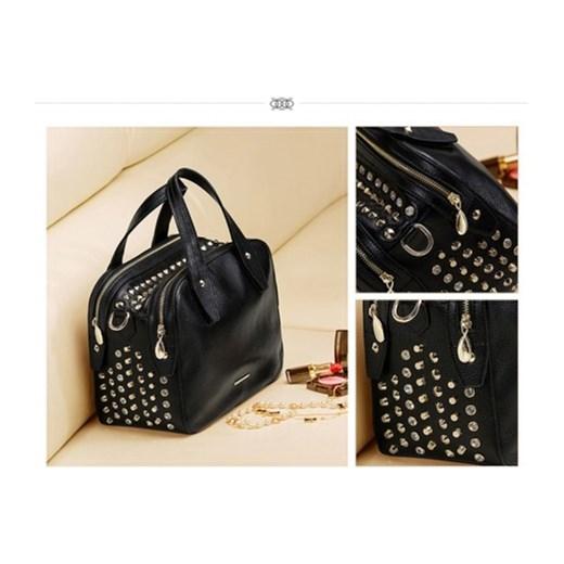3eabb2fe303f8 ... Dwukomorowa damska torebka z ćwiekami Czarna stylowagalanteria-com  bezowy z kieszeniami ...