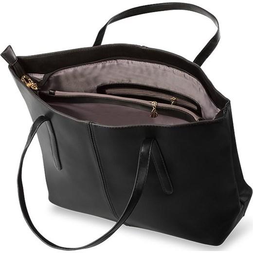 2762875a9f12f ... zamkiem  STYLOWA TOREBKA SHOPPER BAG - CZARNA world-style-pl czarny  elegancki