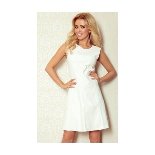 1af8301016 Sukienka trapezowa z ekoskóry biała piu-moda bezowy mini w Domodi