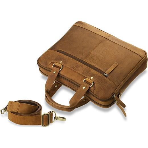 5ba91885f5672 ... TECZKA MĘSKA SKÓRA NATURALNA NUBUCK A4 - CAMEL world-style-pl brazowy  Skórzane torby ...