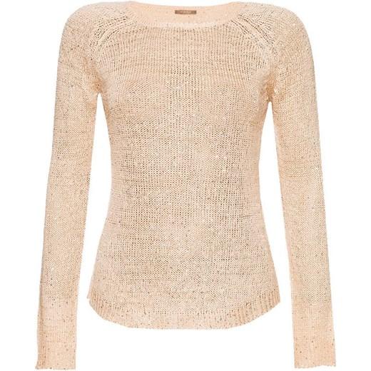 Ogromny Ażurowy sweter z cekinami orsay-com bezowy zima w Domodi CX31