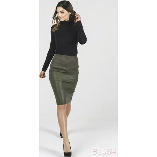 spódnica z imitacji zamszu, kopertowa w kolorze khaki