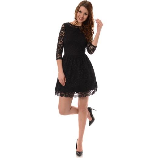 3366a97659c Rozkloszowana Sukienka Koronkowa Czarna brendi-pl czarny mini w Domodi
