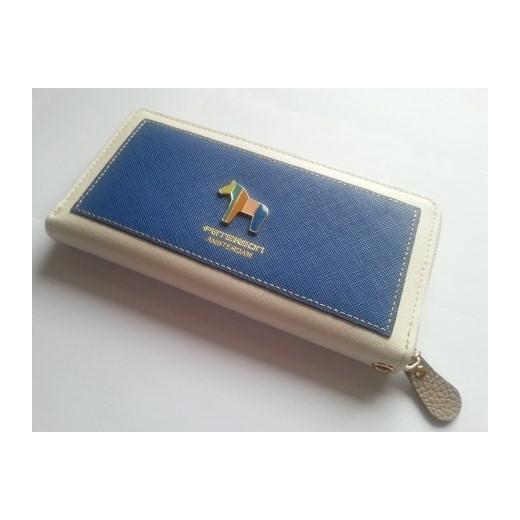 a3a9bccd90661 ... PETERSON skórzany portfel skóra saffiano pony Niebieski  stylowagalanteria-com niebieski lato ...