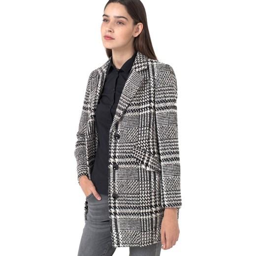 Płaszcz w kratę, duże kieszenie la redoute pl szary