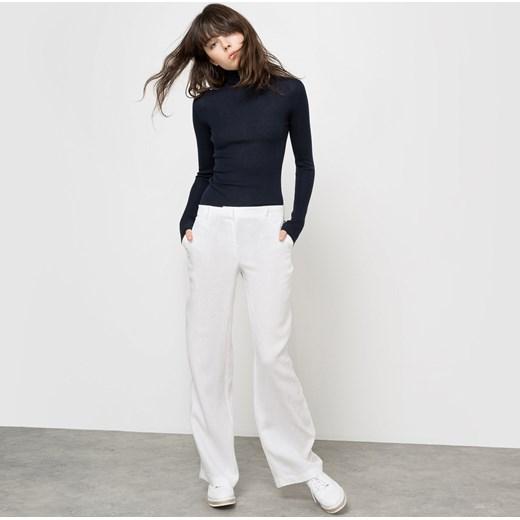 Szerokie lniane spodnie la redoute pl guziki