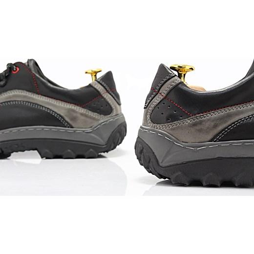 26b67d45 KENT 268 CZARNY- Polskie solidne buty trekkingowe ze skóry naturalnej sklep- obuwniczy-kent szary sznurówki w Domodi