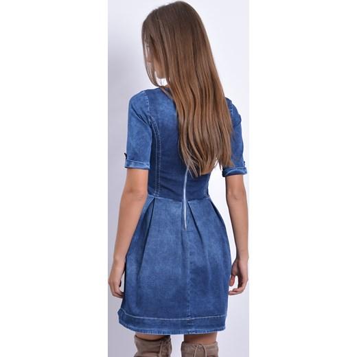 e185d0dc78 ... Sukienka jeansowa rozkloszowana w zakładki cocomoda-pl niebieski długie  ...
