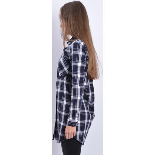 3834e2ce7a Długa koszula w kratę granatowo-biała cocomoda-pl niebieski bawełna ...
