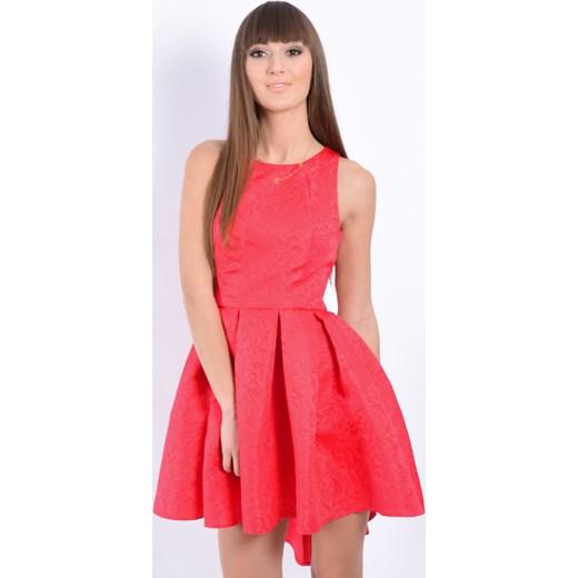 23d5c00d Sukienka rozkloszowana asymetryczna malinowa cocomoda-pl rozowy mini