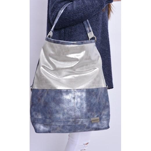 aee4cdfaaef96 Torba worek metalizowany dwa kolory srebrna cocomoda-pl niebieski casual