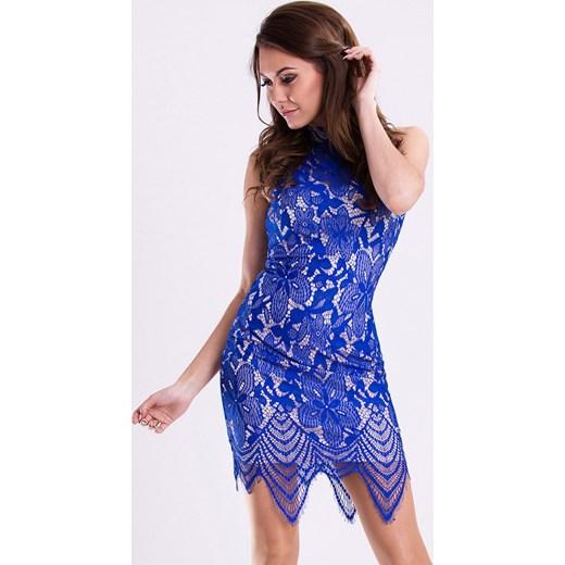 1d4c519935 Koronkowa sukienka z wycięciem na plecach - kobaltowa hege fioletowy  koronka ...