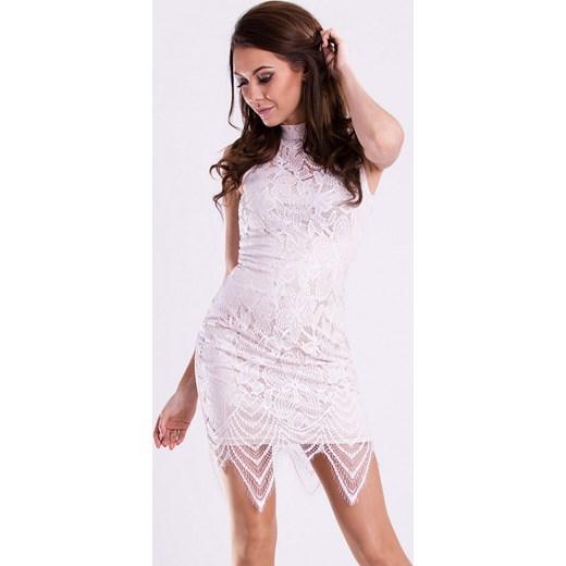 68753077df Koronkowa sukienka z wycięciem na plecach - biała hege rozowy koronka ...
