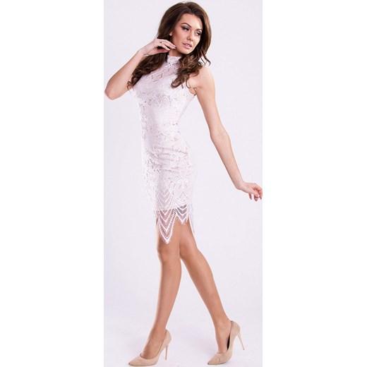 b8139cc0e8 ... Koronkowa sukienka z wycięciem na plecach - biała hege bezowy na wesele  ...