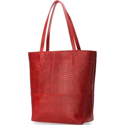 150aeb0452716 ... TOREBKA DAMSKA DUŻY WOREK SHOPPER BAG GENUINE LEATHER - CZERWONY  world-style-pl czerwony ...