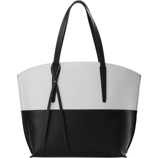 e13bdc5b38141 WŁOSKA TOREBKA DAMSKA SKÓRA NATURALNA SHOPPER BAG PASTELE - SZARO CZARNA  world-style-pl czarny abstrakcyjne wzory