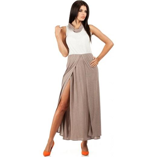 bcaa047476 MOE Sportowa dwukolorowa sukienka maxi