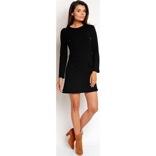 ac6eb3a36d Nommo Sportowa bawełniana mini sukienka z kieszeniami Na83 czarna  arkanymody czarny bawełna