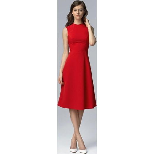 4a92002253 Nife Elegancka wizytowa midi sukienka s62 czerwona arkanymody czerwony do  pracy