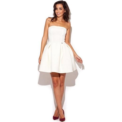 783e396974 Katrus Sukienka mini bez ramiączek rozkloszowana k223 ecru PR arkanymody  bialy boho