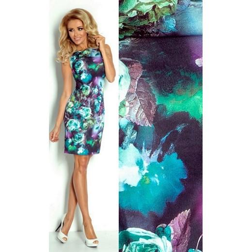 f69e8c2a88 SAF Ołówkowa midi sukienka w kwiaty z zamkami SAF75-1 arkanymody granatowy  boho