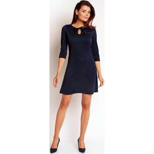 62b9aeef90 Nommo Elegancka mini sukienka RETRO Na93 granatowa arkanymody czarny  dopasowane
