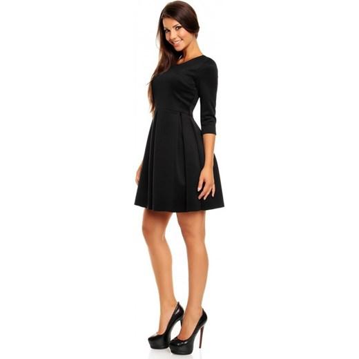 e2d13c38ba Kartes Moda Dzianinowa rozkloszowana mini sukienka KM157 czarna arkanymody  czarny do pracy
