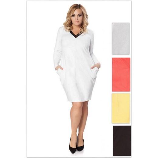 eb4fe23e30 Tessita Sukienka z dzianiny dresowej z koronką z dużymi kieszeniami WikiPS  RÓŻNE KOLORY arkanymody bawełna