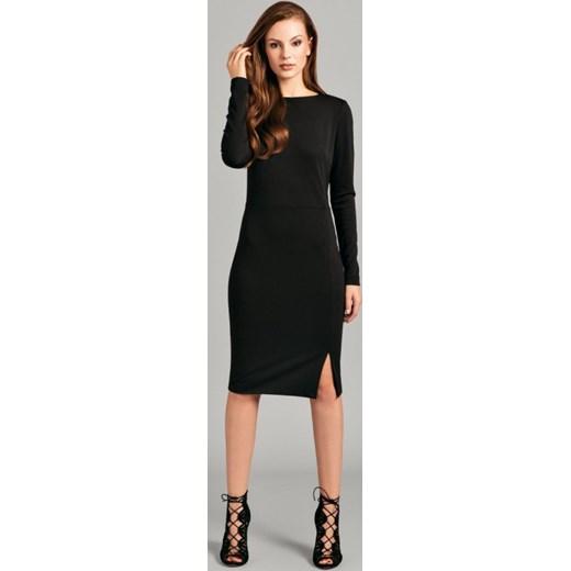 9d4b0d9635 Misebla Elegancka ołówkowa midi sukienka do pracy MSU0042 czarna arkanymody  czarny dopasowane