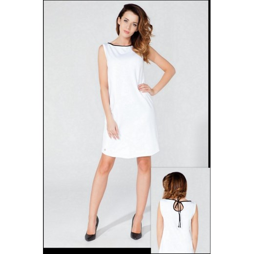 1d67992631 Tessita Midi biała sukienka z dzianiny z łezką T118 czarna lamówka  arkanymody szary bawełna