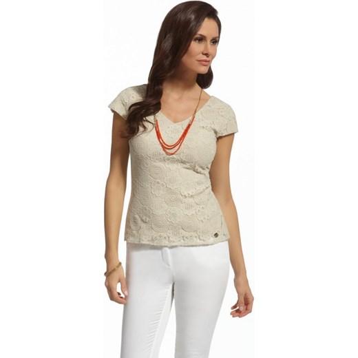2bfb259a1e Enny Dopasowana elegancka bluzka z koronki BL210051 ecru arkanymody bezowy Bluzki  eleganckie