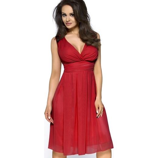 1a16552cd4 Kartes Moda Sukienka z szyfonu z seksownym dekoltem KM117 czerwona  arkanymody czerwony elastan