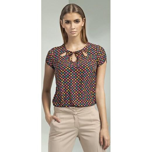 463edf896b64 Nife Młodzieżowa bluzka w kolorowe kropki z wiązaniem b42 kropki arkanymody  bezowy bez wzorów