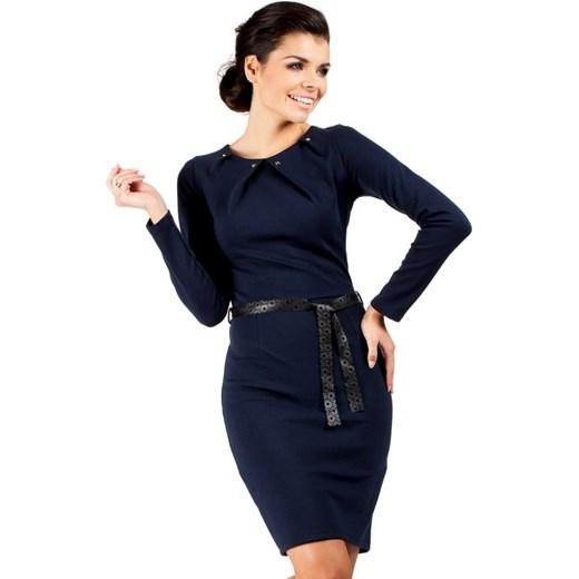 c6b6661f5f MOE043 Sukienka ołówkowa z ćwiekami - granatowa arkanymody czarny bawełna