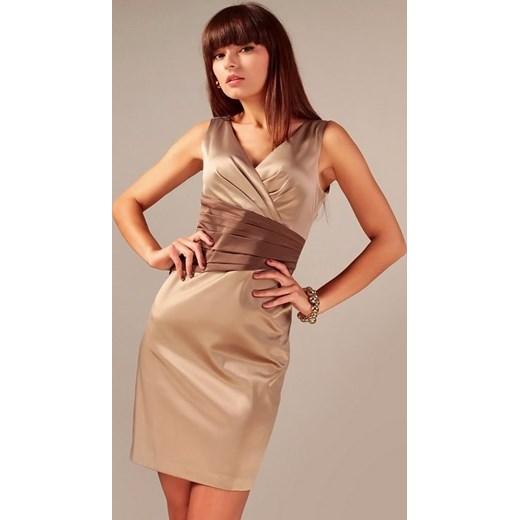 db28b8251f Vera Fashion - Sukienka wizytowa z ozdobnym pasem Oriana cappuccino  arkanymody pomaranczowy bawełna
