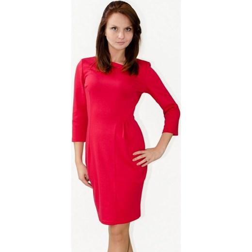 605aa4ecf8 Setline Klasyczna elegancka sukienka z dzianiny Paris2 czerwona arkanymody  czerwony do pracy