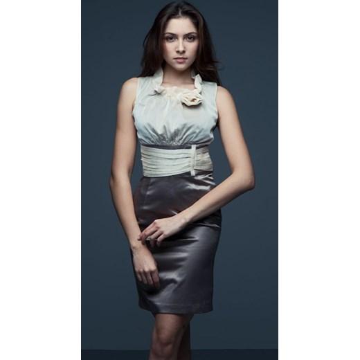 a66f0d71de Vera Fashion Sukienka wizytowa z szyfonem Nicole szara arkanymody szary  bawełna