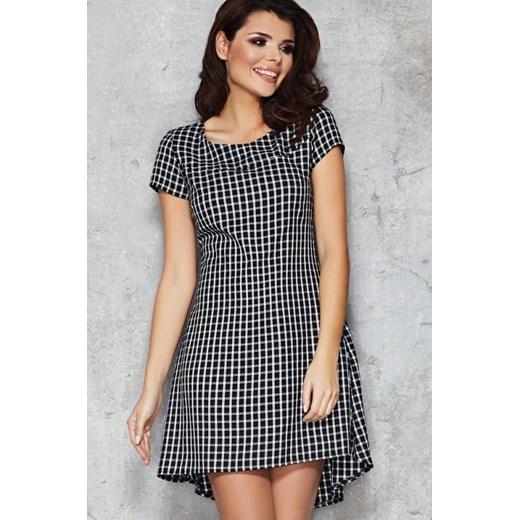 2a407aeae0 INFINITE-YOU Asymetryczna elegancka sukienka w kratkę M034 biało czarna  mała kratka2 arkanymody szary